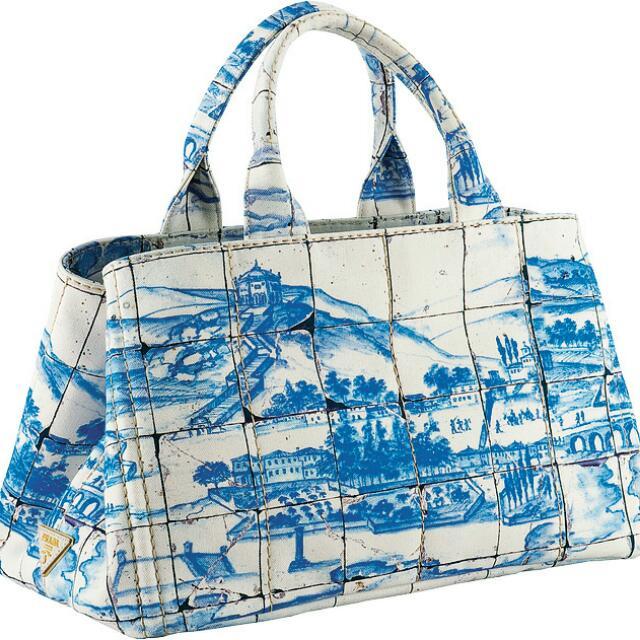 PRADA真品帆布手提包