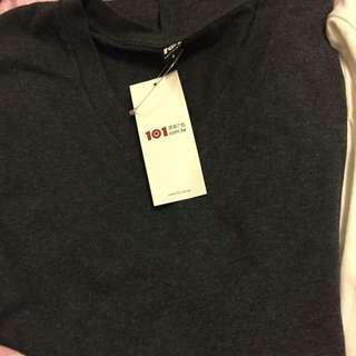 100%純棉101原創素色黑灰長袖t