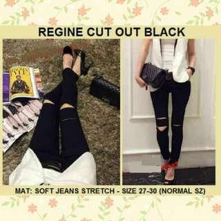 Regina Cut Knee Black Ripped