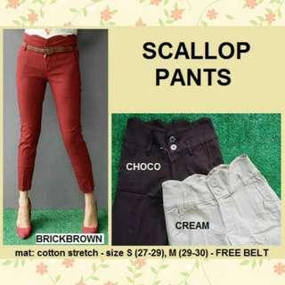 Scallop Cotton Pants