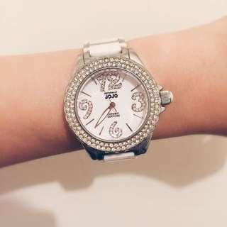 NATURALLY JOJO 摩登時尚陶瓷腕錶-白/38mm
