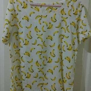 滿版香蕉雪紡上衣T恤