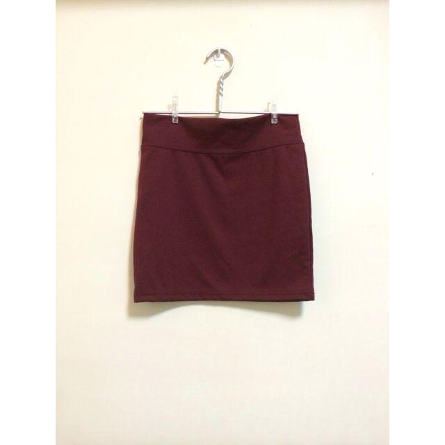 酒紅色棉質短窄裙
