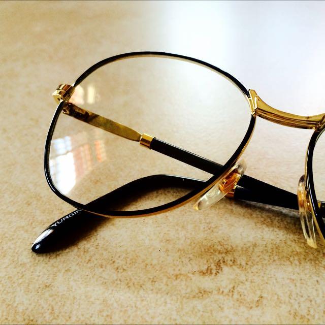 (保留中)古著老品金屬黑框金邊眼鏡 含運