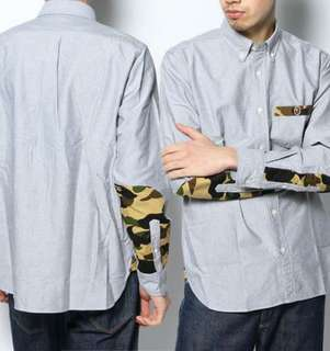 A Bathing Ape 1st camo patch oxford bd shirt BAPE 灰色長袖迷彩拼接襯衫