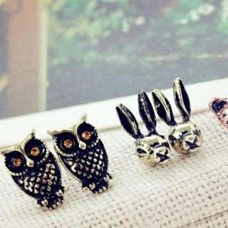 森林動物好朋友復古耳環