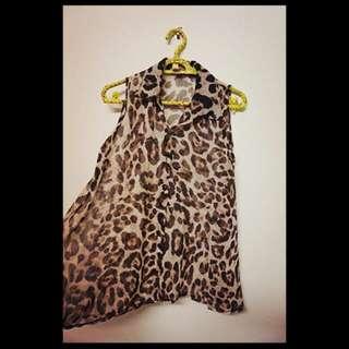 《降價》豹紋傘裝襯衫