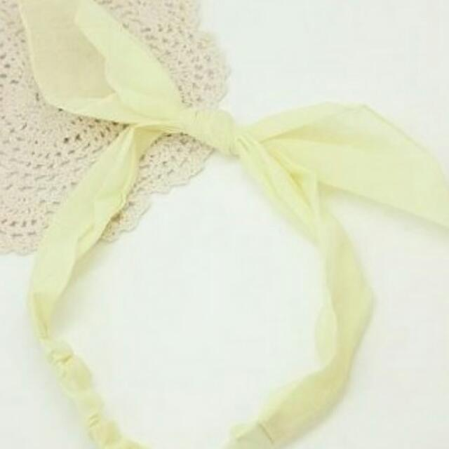 派對嫩黃蝴蝶髮圈