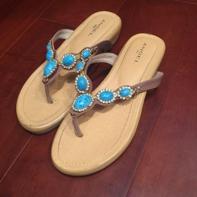 (拍賣出價不含運費)ANGEL 專櫃寶石拖鞋 (25.5約38-39號穿)