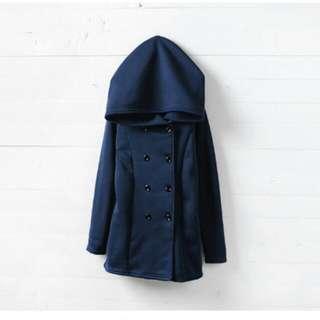 雙排扣口袋連帽外套