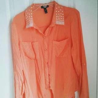 Orange Button Up  Size: S Condition : Good
