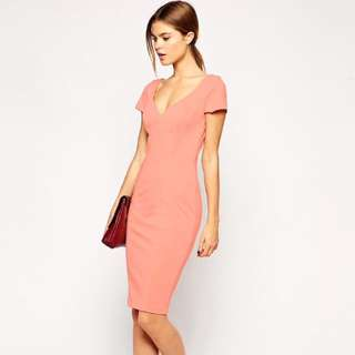 Asos Sexy Peach Pencil Midi Dress In Scuba