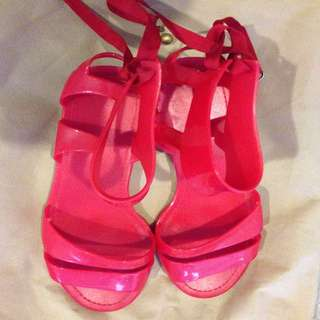 SALE!!! Armani Exchange Jelly Ankle Shoes In Red