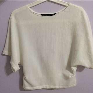 Zara Women White Batwing Blouse