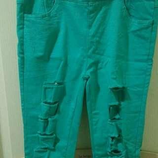刷破湖水綠長褲