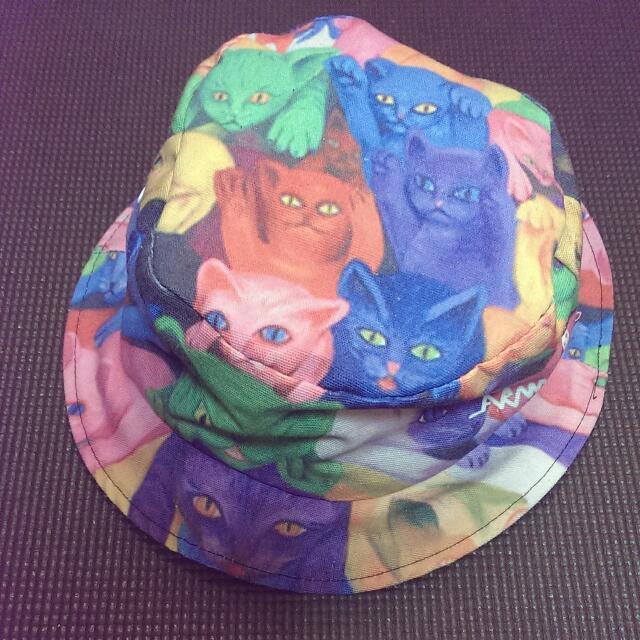 日雜滿版貓咪雙面漁夫帽