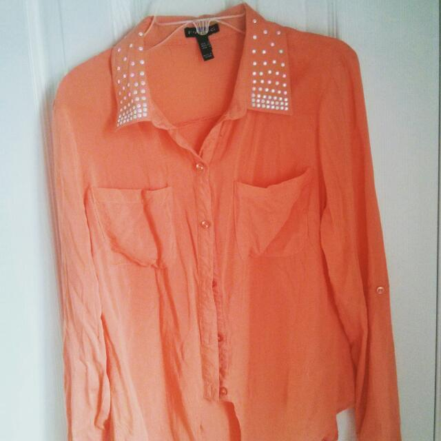 Orange Button Up  Size: S Condition : Good