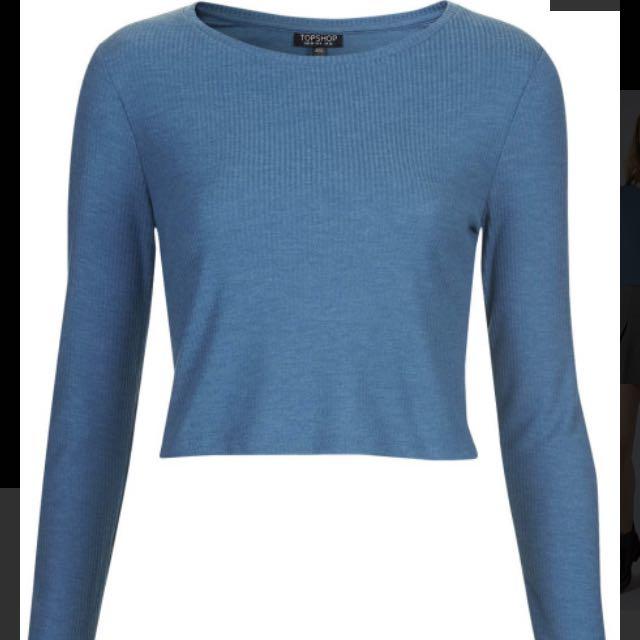 TOPSHOP blue Long Sleeved Crop Tee