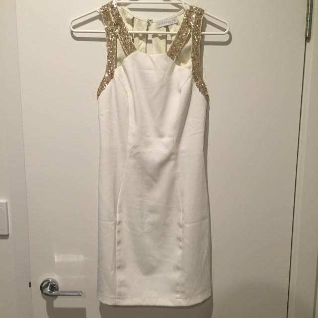 PRICE DROPPED!! White Dress with Gold Sequins