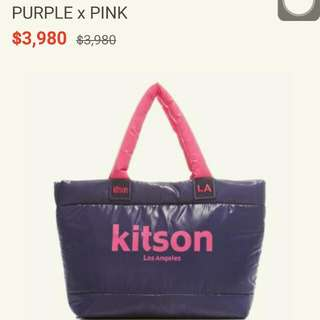 kitson 台灣限定 經典鋪棉托特包-PURPLE x PINK