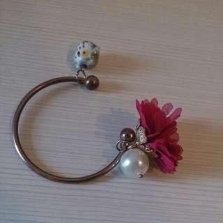 珍珠·鳥·雪紡花手環
