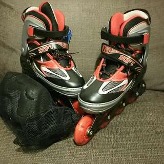 Rollerblade with Protection gear