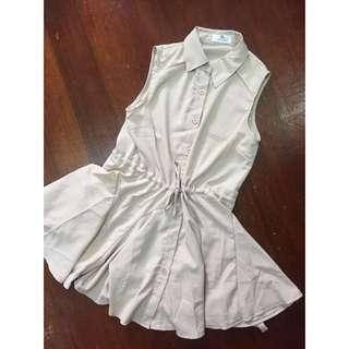 (全新)米膚色雪紡洋裝