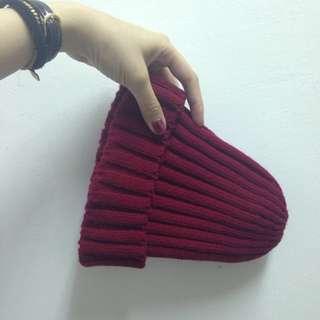 素面毛帽(棗紅)