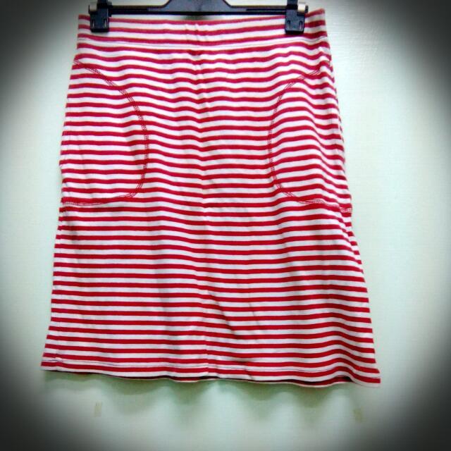 八成新休閒條紋棉裙