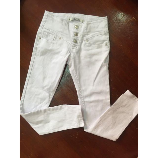 (全新)三排釦 中腰 白褲