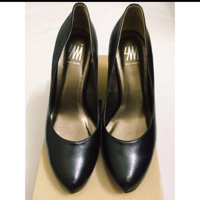 免運 專櫃品牌SM羊皮好走黑高跟鞋