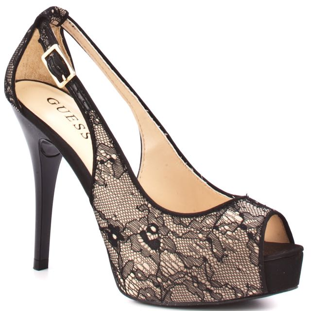 Guess Gold Peep Toe Platform Shoes With Black Lace