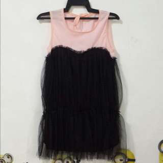 #Peach With Black Organza Dress
