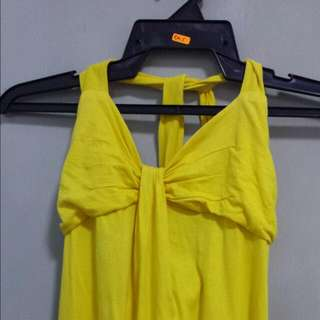 Yellow Halter Mini Dress