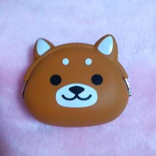 <A18>棕柴犬矽膠造型零錢包