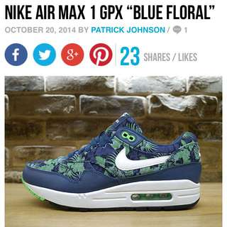 Authentic Nike Air Max 1 Gpx Blue Floral