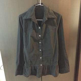 黑色腰身襯衫上衣(洋裝)