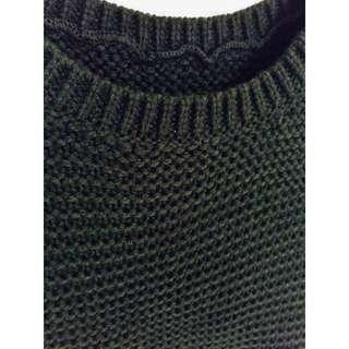 墨綠針織短版背心上衣