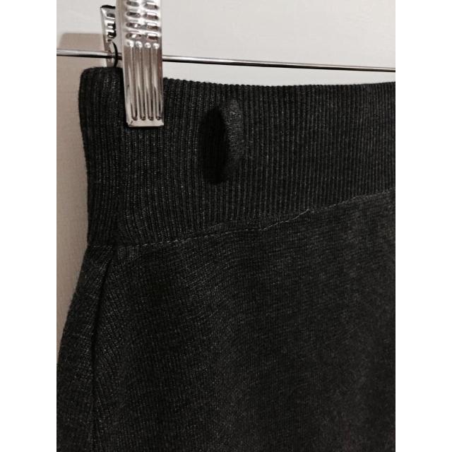 淑女設計深灰厚針織麻感中長裙