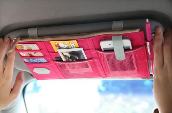 Multi Purpose Car Sun Visor Pouch Organizer Zipper Closure Storage ...