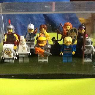 10 LEGO MINI FIGURES FROM SERIES IN CASE