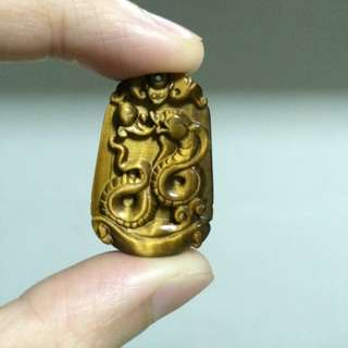 Snake Carved Pendant Yellow Tiger Eye Stone