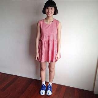 (保留中)粉紅色格子無袖洋裝(二手)