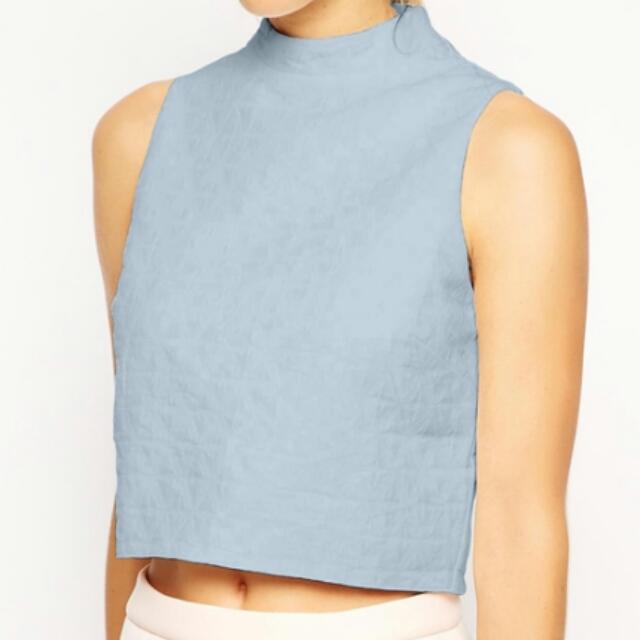 8f40e29a4cc3 ASOS Sleeveless Crop Top In Texture With High Neck, Women's Fashion ...