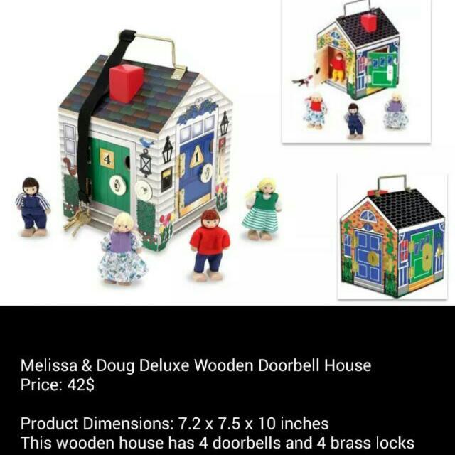 Bnip Melissa Doug Deluxe Wooden Doorbell House