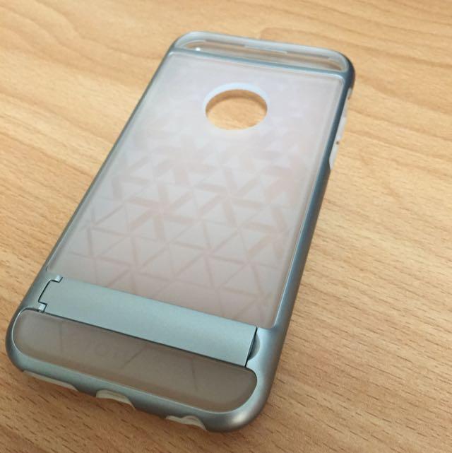 I6  立手機 手機殼 銀色