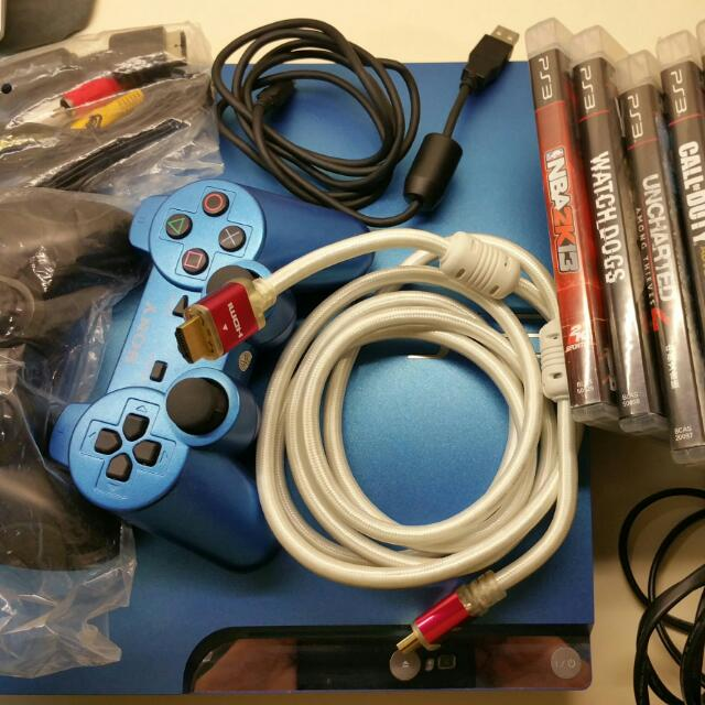 PS3 320GB (blue) with games, Toys & Games on Carousell