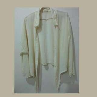 雪紡白色綁帶外套