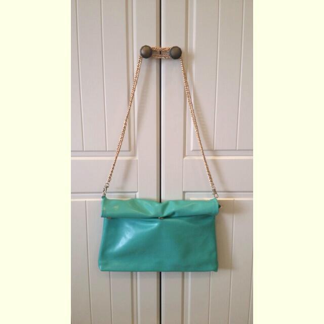 天藍小舖  蒂粉妮綠側背手拿包
