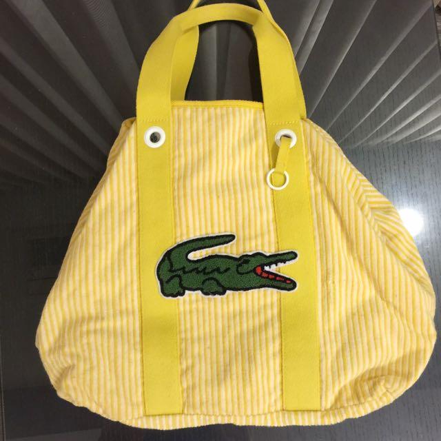 鱷魚 lacoste可愛大logo大容量背包黃色潮流媽媽包